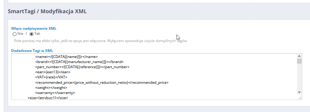 Nowy przełącznik wyłączający nadpisania dodatkowych tagów XML